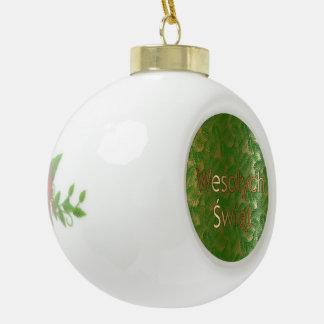 Ornamento de cerámica de la bola del Poinsettia Adorno De Cerámica En Forma De Bola