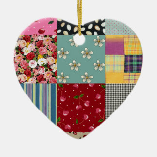 Ornamento de cerámica del corazón del remiendo