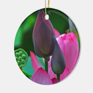 Ornamento de cerámica del flor rosado de Lotus Adorno Navideño Redondo De Cerámica