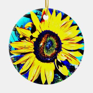 Ornamento de cerámica del girasol soleado