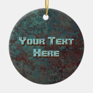 """Ornamento """"de cobre"""" del texto de la impresión de adorno navideño redondo de cerámica"""
