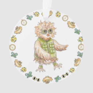 Ornamento de color caqui del navidad del búho de