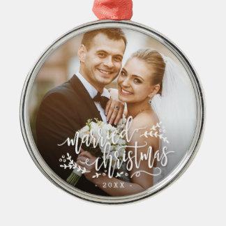 Ornamento de encargo casado del navidad de la foto