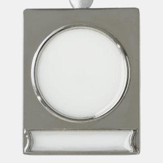 Ornamento de encargo de la bandera - plata adorno con rótulo plateado