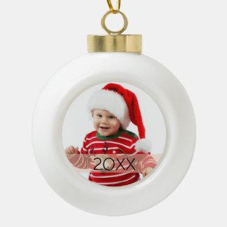Ornamento de encargo del año de la foto adorno de cerámica en forma de bola