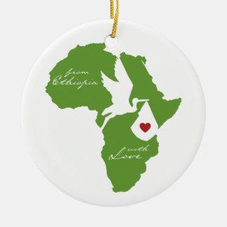 Ornamento de Etiopía de la cigüeña de la adopción Adorno Redondo De Cerámica