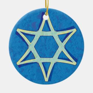 Ornamento de Jánuca de la estrella de David Adorno Redondo De Cerámica