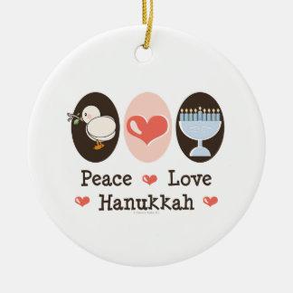 Ornamento de Jánuca del amor de la paz Adornos De Navidad
