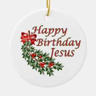 Ornamento de Jesús del feliz cumpleaños Adorno Navideño Redondo De Cerámica