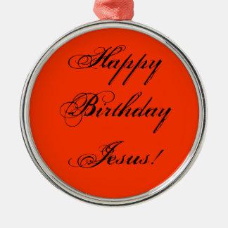 Ornamento de Jesús del feliz cumpleaños Adorno Navideño Redondo De Metal