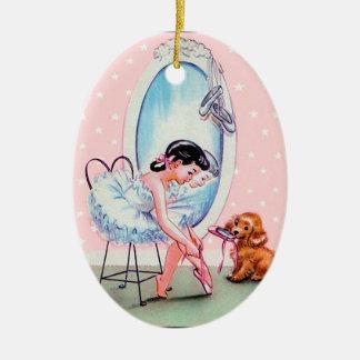 Ornamento de la bailarina del vintage adorno navideño ovalado de cerámica