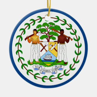 Ornamento de la bandera de Belice Adorno Navideño Redondo De Cerámica