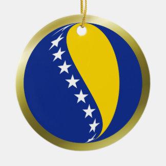 Ornamento de la bandera de Bosnia y Hercegovina Adorno Navideño Redondo De Cerámica