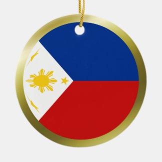 Ornamento de la bandera de Filipinas Adorno Navideño Redondo De Cerámica