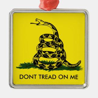 Ornamento de la bandera de Gadsden Adorno Navideño Cuadrado De Metal