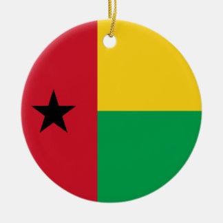Ornamento de la bandera de Guinea-Bissau Adorno Navideño Redondo De Cerámica