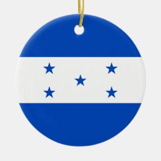 Ornamento de la bandera de Honduras Adorno Navideño Redondo De Cerámica