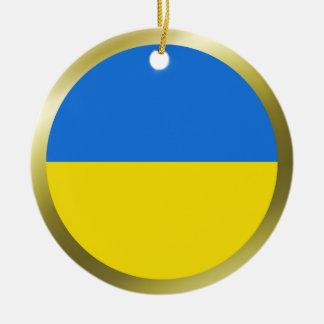 Ornamento de la bandera de Ucrania Adorno Navideño Redondo De Cerámica