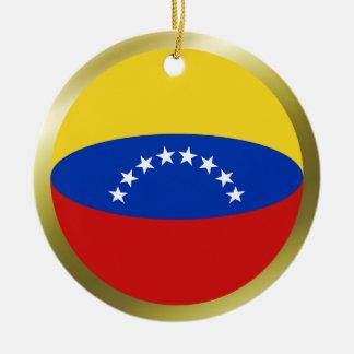 Ornamento de la bandera de Venezuela Adorno Navideño Redondo De Cerámica