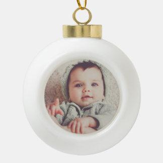 Ornamento de la bola redonda de la foto del bebé adorno de cerámica en forma de bola