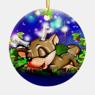Ornamento de la camiseta de los sueños dulces adorno navideño redondo de cerámica