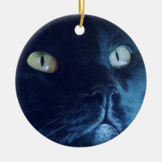 Ornamento de la cara del gato negro