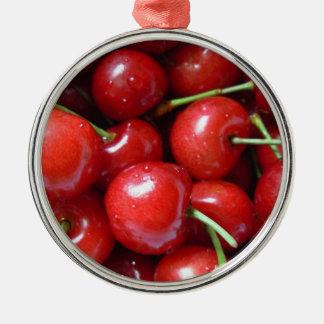 Ornamento de la cinta del rojo de cerezas ornamento para reyes magos