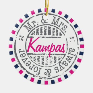 Ornamento de la colección del servicio postal - adorno navideño redondo de cerámica