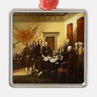 Ornamento de la Declaración de Independencia Adorno Cuadrado Plateado