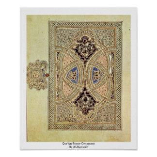 Ornamento de la escena de Qur'An por el al-Bawwâb Póster