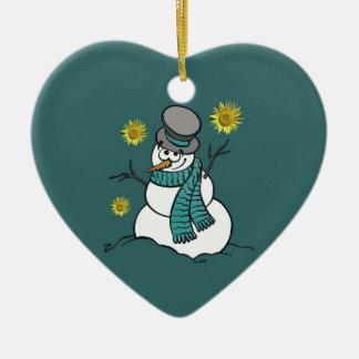 Ornamento de la esperanza del muñeco de nieve adorno navideño de cerámica en forma de corazón