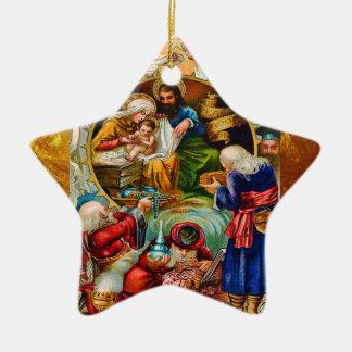 Ornamento de la estrella de la natividad del adorno navideño de cerámica en forma de estrella