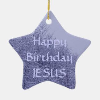 Ornamento de la estrella feliz cumpleaños Jesús Ornamento De Navidad