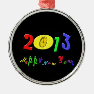 Ornamento de la Feliz Año Nuevo Adorno Navideño Redondo De Metal