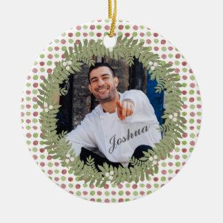 Adorno De Cerámica Ornamento de la foto de la guirnalda del navidad