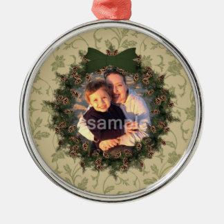 Ornamento de la foto de la guirnalda del navidad ornato