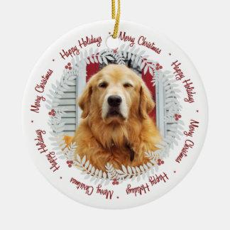Adorno De Cerámica Ornamento de la foto de las Felices Navidad el |