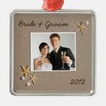 Ornamento de la foto del boda del tema de la playa ornamentos para reyes magos