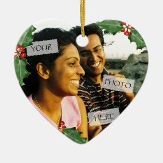 Ornamento de la foto del corazón de los pares del