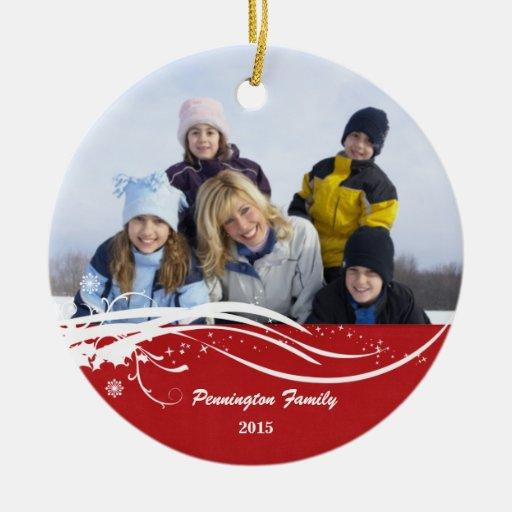 Ornamento de la foto del día de fiesta del navidad adorno redondo de cerámica
