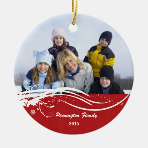 Ornamento de la foto del día de fiesta del navidad adorno navideño redondo de cerámica