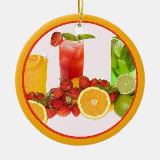 Ornamento de la fruta tropical adorno redondo de cerámica