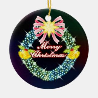Ornamento de la guirnalda de las Felices Navidad Ornamento Para Arbol De Navidad