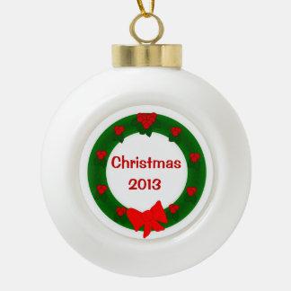 Ornamento de la guirnalda del navidad adorno de cerámica en forma de bola