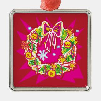 Ornamento de la guirnalda del navidad adorno navideño cuadrado de metal