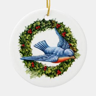 Ornamento de la guirnalda y del Bluebird Adorno
