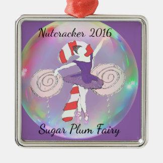Ornamento de la hada del ciruelo del azúcar adorno navideño cuadrado de metal