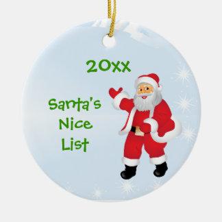 Ornamento de la lista de Santa personalizado Niza Adorno Navideño Redondo De Cerámica
