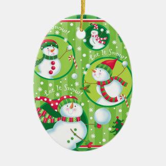 Ornamento de la lucha de la bola de nieve del adorno navideño ovalado de cerámica