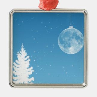 Ornamento de la luna adorno navideño cuadrado de metal